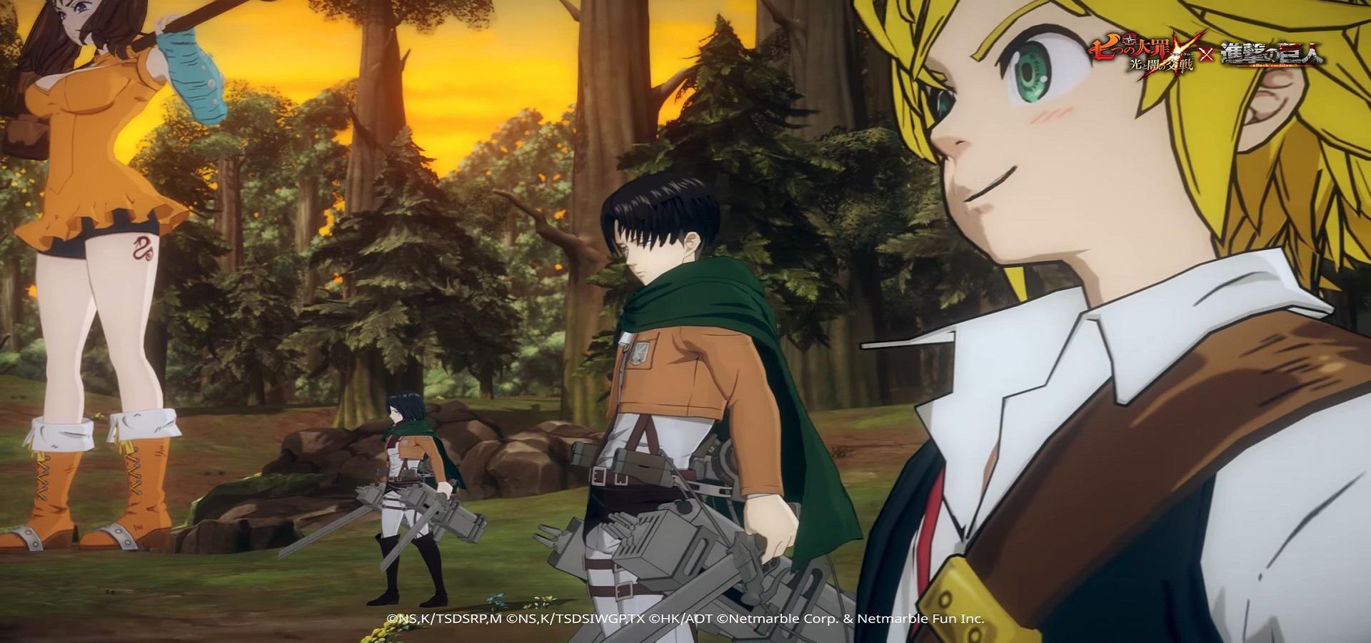 Le jeu Seven deadly sins grand cross et Shingeki no kyojyn