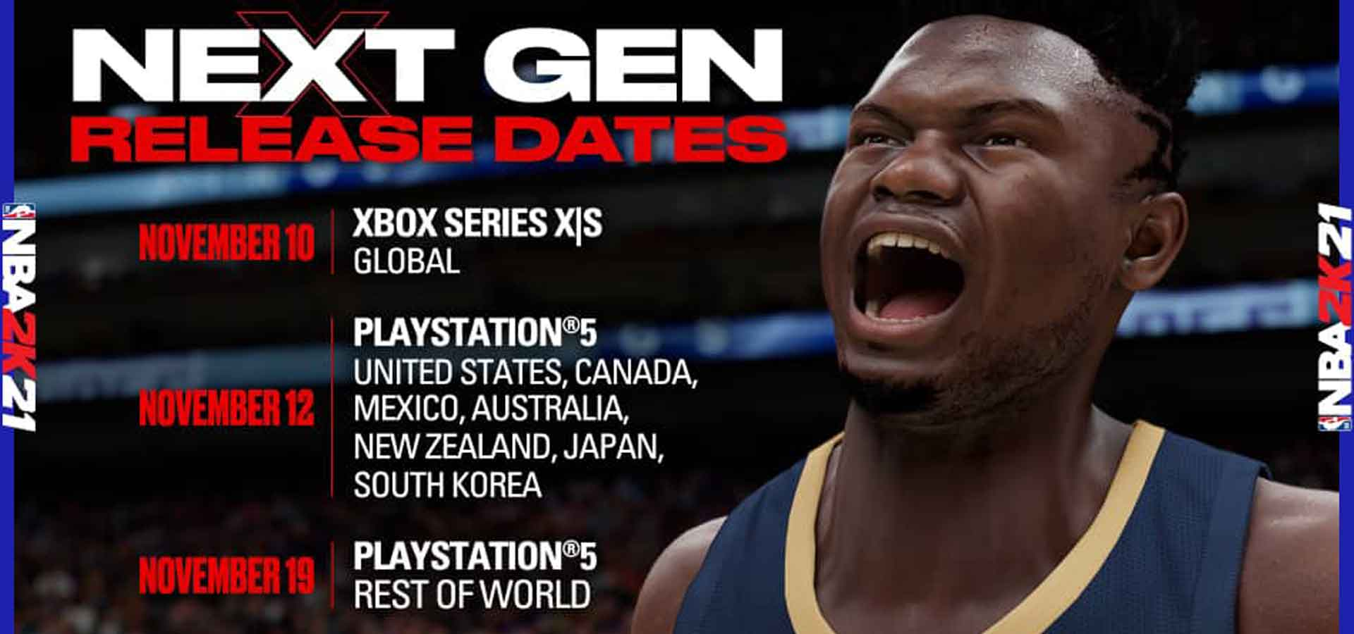 Dates de sortie de NBA 2K21 sur les consoles Next Gen