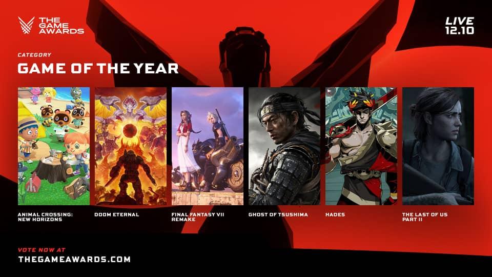 Les jeux vidéos nominés dans la catégorie Game of year aux The Game Awards